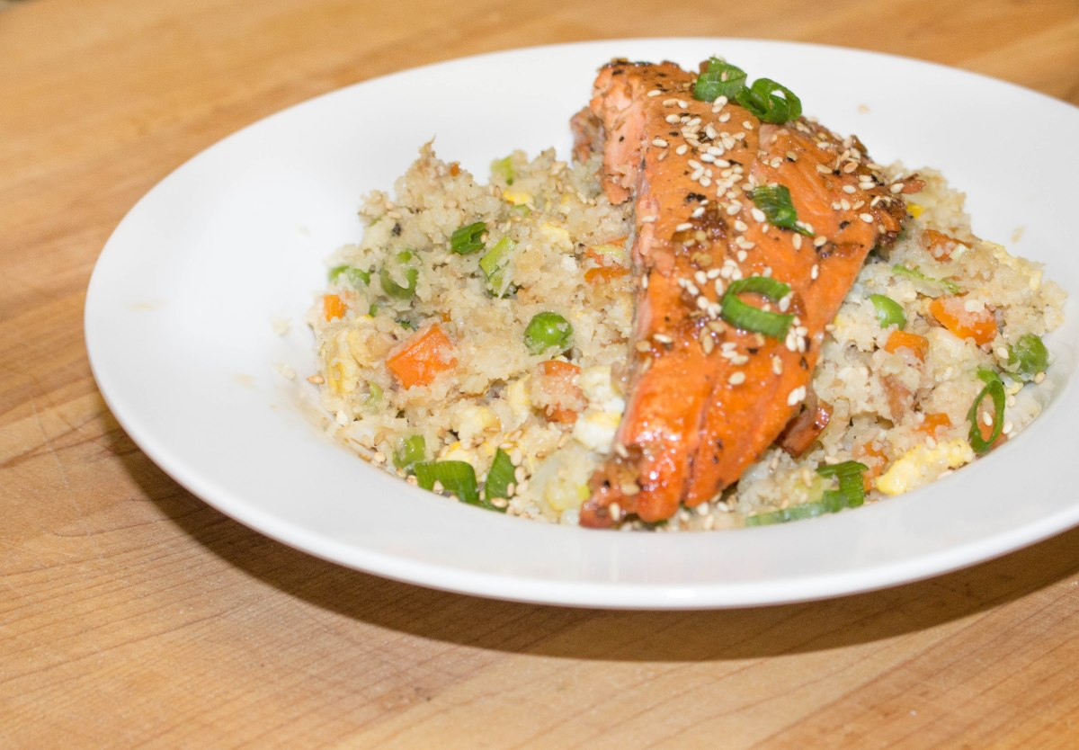 Week 2 Meatless Meals: Teriyaki Salmon with Cauliflower Fried Rice